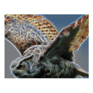 Electrified Great Horned Owl Yellow eye2 Postcard