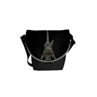 Electrified Guitar Black Messenger Bag