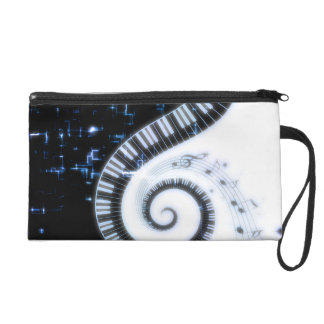 Electrified Piano Keys & Musical Notes Wristlet Purse