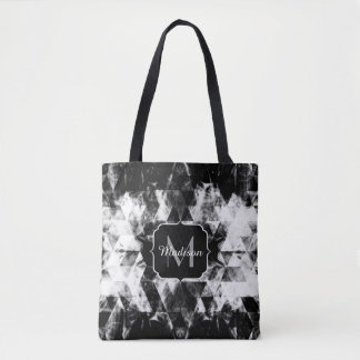 Electrifying black white sparkly triangle Monogram Tote Bag