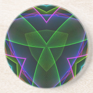 Electrifying Fluorescent Linear Abstract Drink Coaster