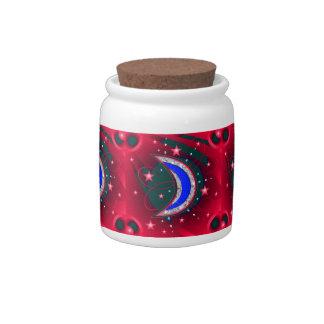 Electrifying Night Crescent Moon & Stars Candy Jar