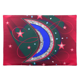 Electrifying Night Crescent Moon & Stars Cloth Placemat