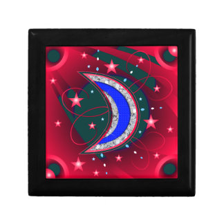 Electrifying Night Crescent Moon & Stars Jewelry Box