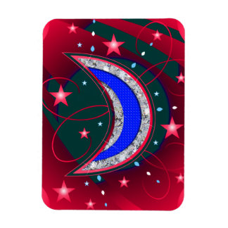 Electrifying Night Crescent Moon & Stars Magnet