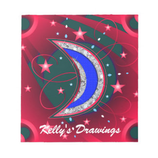 Electrifying Night Crescent Moon & Stars Note Pad