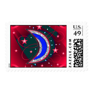 Electrifying Night Crescent Moon & Stars Postage