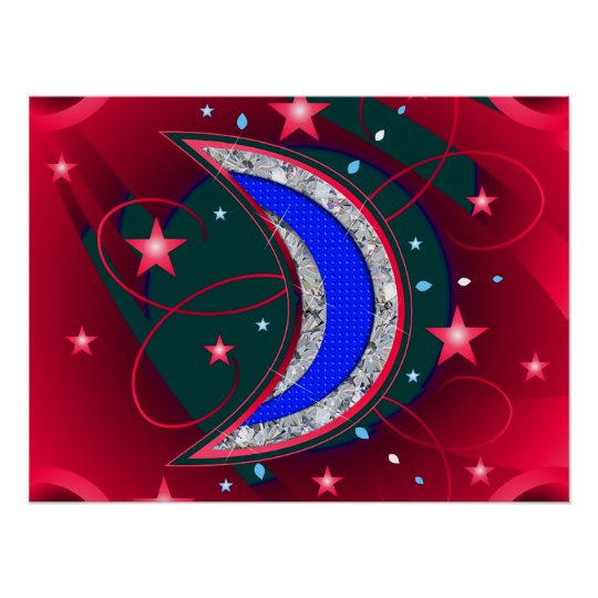 Electrifying Night Crescent Moon & Stars Poster