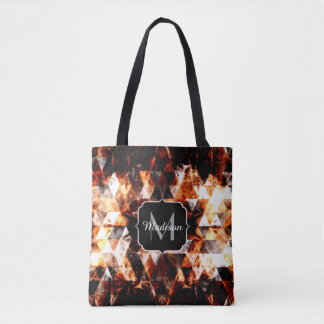 Electrifying orange sparkly triangle fire Monogram Tote Bag