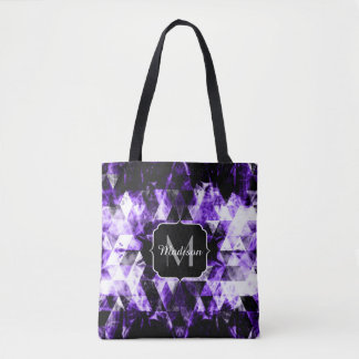 Electrifying purple sparkly triangle Monogram Tote Bag