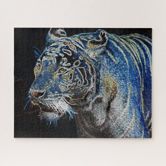 Electrifying Tiger In The Night Jigsaw Puzzle