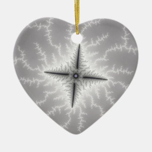 Electro - arte del fractal adorno navideño de cerámica en forma de corazón