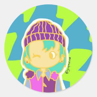Electro Girl Classic Round Sticker