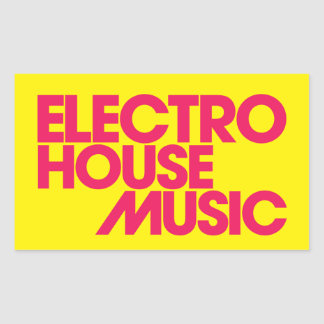 Electro House Music Rectangular Sticker