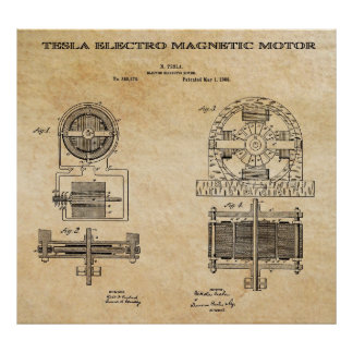 ELECTRO MAGNETIC MOTOR PATENT by TESLA 1888 Print