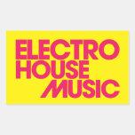 Electro música de la casa pegatina rectangular