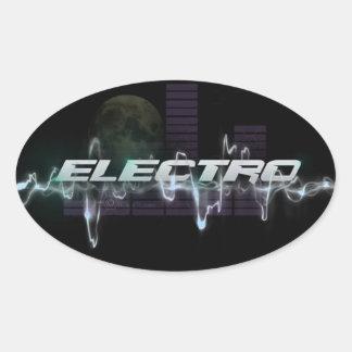 Electro Oval Stickers, Glossy Oval Sticker
