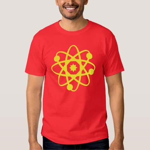 Electrones y camisa roja del friki de las neuronas