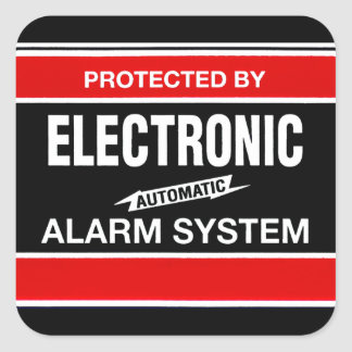 Electronic Alarm System Square Sticker