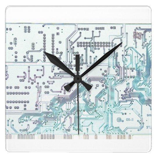 electronic circuit board square wall clock