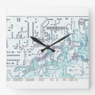 electronic circuit board square wall clocks