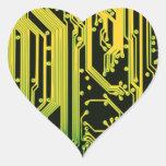 electronic circuit motif heart sticker