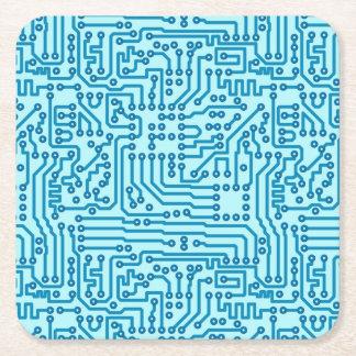 Electronic Digital Circuit Board Square Paper Coaster