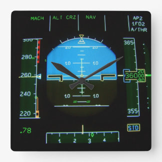 Electronic Flight Display Square Wall Clocks