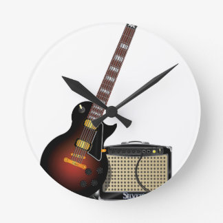 Electronic guitar and amp round clock