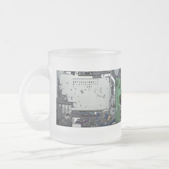 Electronic interior of a laser printer frosted glass coffee mug