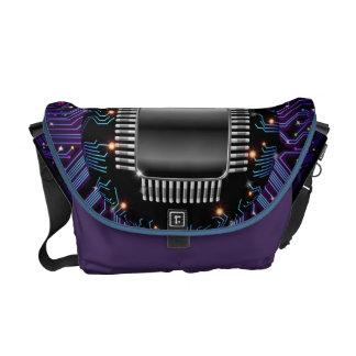 Electronic Motherboard Circuit Rickshaw Messenger  Commuter Bags