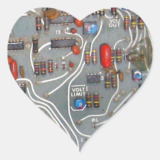 Electrónica de la placa de circuito del vintage pegatina en forma de corazón