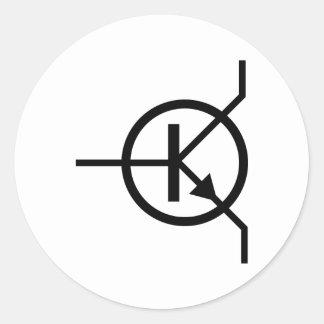 electrónica del transistor etiqueta redonda