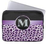 Electrónica púrpura del leopardo y de la cinta del funda portátil