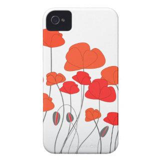 Electrónica roja de las amapolas iPhone 4 protectores