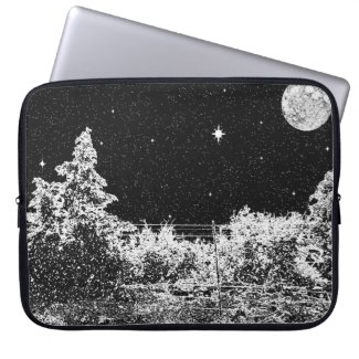 Electronics Bag- Winter's Night Black Laptop Sleeve