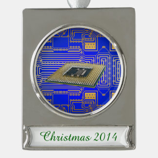 Electronics Circuit Board Silver Plated Banner Ornament