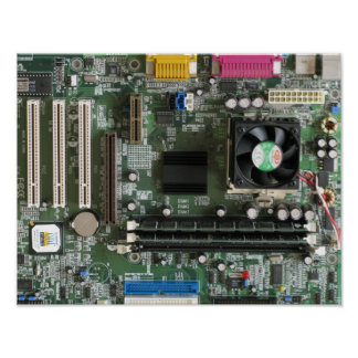 Electronics components old motherboard Print