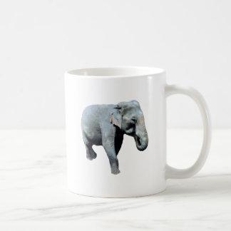 Elefante 1p de Indochina dejado Taza Básica Blanca