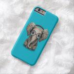 Elefante adaptable DJ del bebé con los auriculares Funda De iPhone 6 Barely There