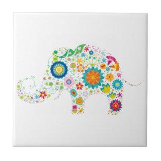 Elefante adornado azulejo cuadrado pequeño