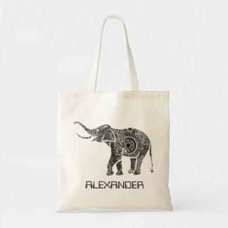 Elefante adornado negro y blanco de los remolinos  bolsa de mano