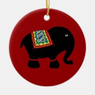 Elefante Adorno Navideño Redondo De Cerámica