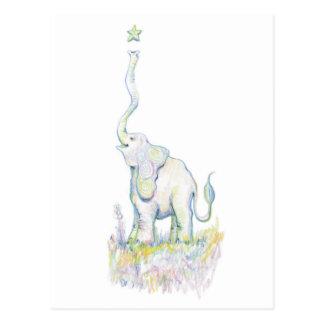 Elefante afortunado tarjeta postal