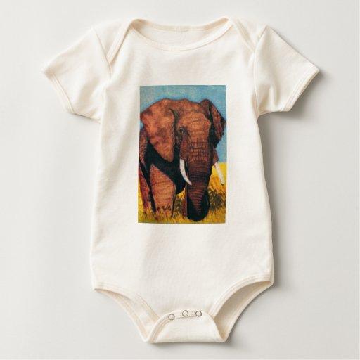 Elefante africano de Bull del bebé lindo Mamelucos De Bebé