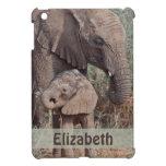 Elefante africano de la madre y del bebé personali iPad mini coberturas