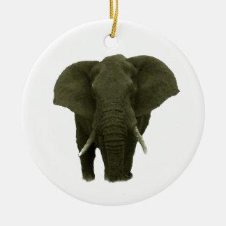 Elefante africano adorno redondo de cerámica