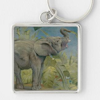 Elefante africano en la selva, EJ Detmold del Llavero Cuadrado Plateado