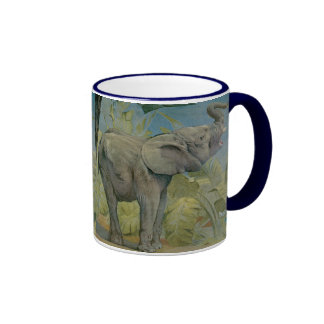 Elefante africano en la selva, EJ Detmold del vint Tazas De Café