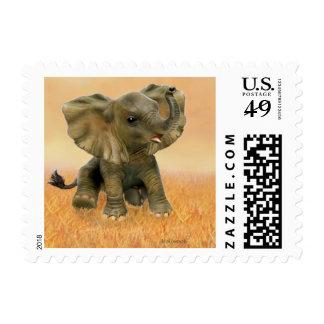 Elefante africano hermoso del bebé timbres postales